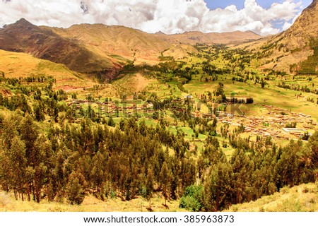 Sacred Valley of the Incas or the Urubamba Valley is a valley in the Andes of Peru, South America - stock photo