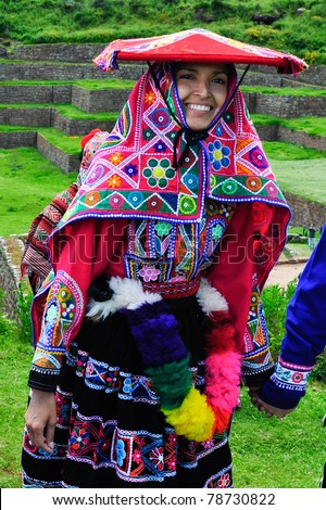 SACRED VALLEY, PERU - MARCH 09: Traditional peruvian bride during wedding ceremony in Sacred Valley near Cuzco, Peru on March 09, 2010. - stock photo