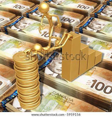Sacrifice Bridge Between A Bar Graph And A Gold Dollar Coin Stack - stock photo