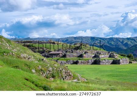 Sacsayhuaman, Inca ruins in Cusco, Peru - stock photo