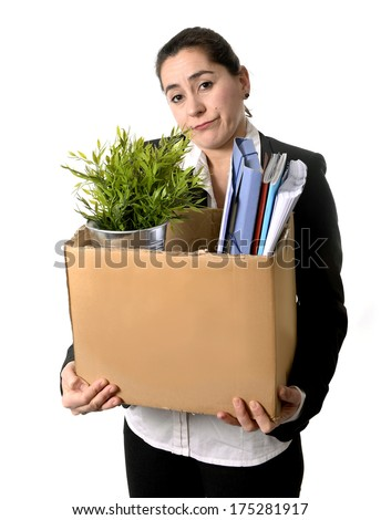 Sad and Angry Business Woman  Fired from Job because of Financial Crisis  carrying Cardboard Box with Office Belongings  isolated on white background - stock photo