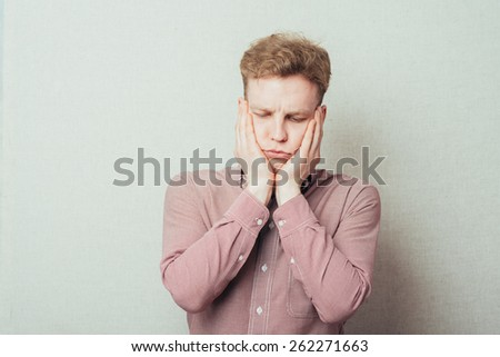 sad and confused man - stock photo