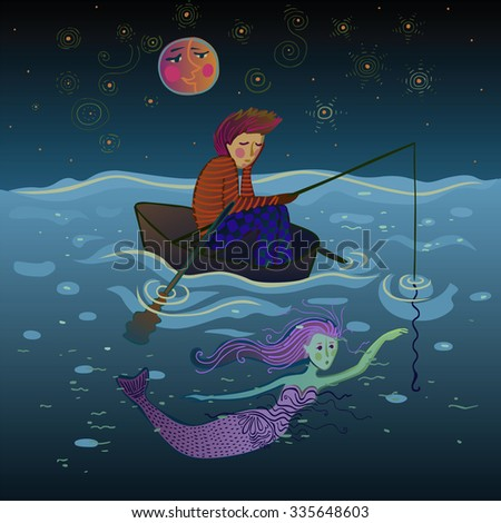 sad and lonely fisherman in a boat under the moon just before meeting the pretty mermaid - stock photo