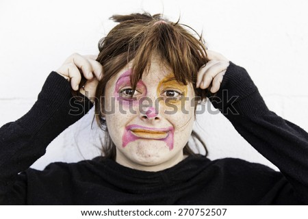 Sad and strange Clown with crazy hair - stock photo