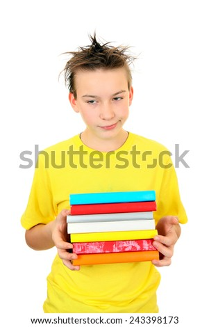 Sad and Tired Schoolboy with the Books on the White Background - stock photo