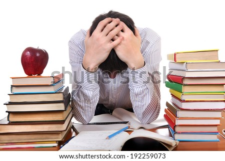 Sad and Tired Student at the School Desk on the white background - stock photo
