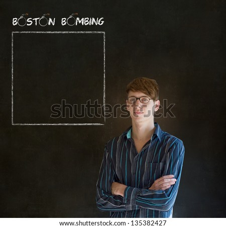 Sad angry or upset businessman, teacher or student thinking  about the Boston Bombing with to do list space for your text - stock photo