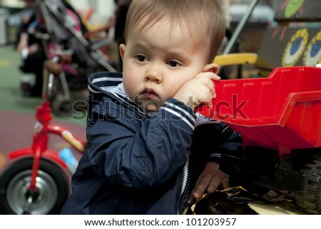 Sad baby boy portrait - stock photo