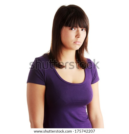 Sad beautiful young woman isolated on white background  - stock photo