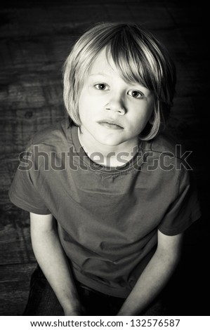 Sad boy - stock photo