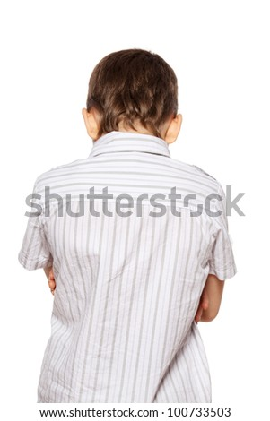 Sad boy back. Depression child - stock photo