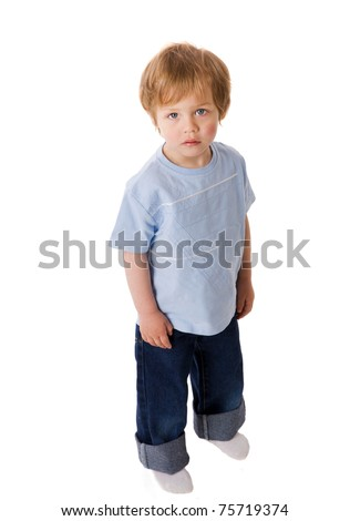 Sad Boy looking up laughing isolated on white - stock photo