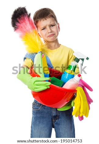 Sad boy with cleaning tools, isolated on white - stock photo