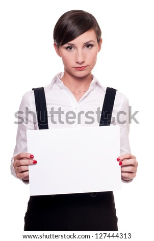 Sad businesswoman with a blank sheet of paper in her hands isolated on white - stock photo