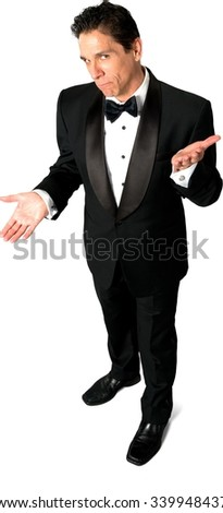 Sad Caucasian man with short black hair in evening outfit talking with hands - Isolated - stock photo