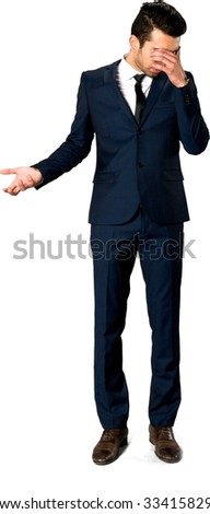 Sad Caucasian man with short dark brown hair in business formal outfit talking with hands - Isolated - stock photo