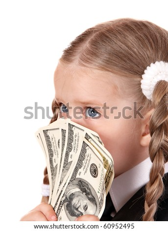 Sad child with money dollar. Isolated. - stock photo