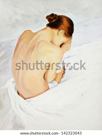 sad crying girl , painting by oil on canvas,  illustration - stock photo