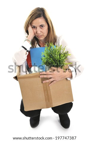 Sad Desperate Business Woman on her 40s in stress carrying Cardboard Box  with office stuff Fired from Job for Financial Crisis facing unemployment issue isolated on White background - stock photo