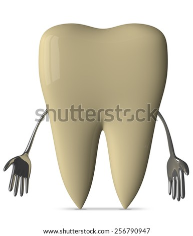 Sad dirty yellow tooth character isolated on white background, front view - stock photo