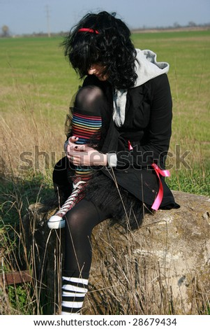 Sad emo girl - stock photo