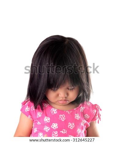 Sad girl on white background  - stock photo
