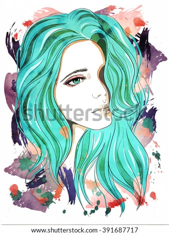 Sad girl with blue hair. Fashion illustration on abstract textured background. Print for T-shirt - stock photo