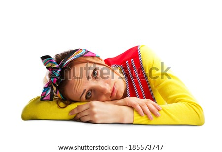Sad housewife isolated on white - stock photo