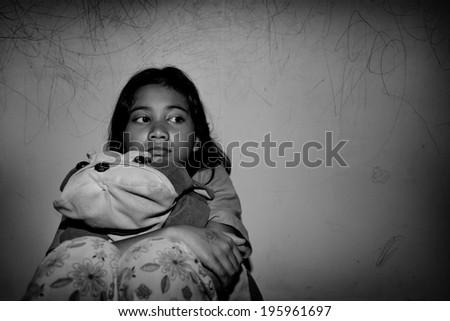 sad little asian girl  - stock photo