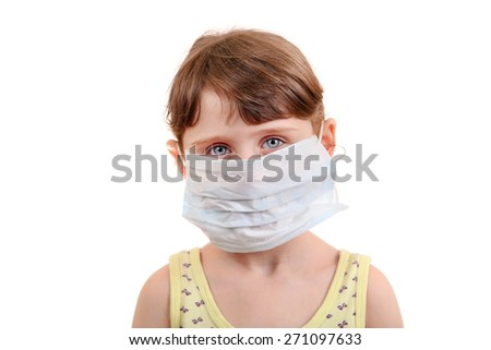 Sad Little Girl in Flu Mask Isolated on the White Background - stock photo