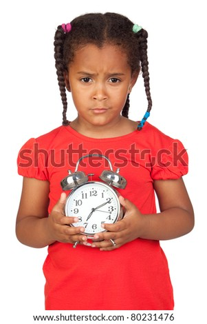 Sad little girl with a silvered clock isolated on a over white - stock photo