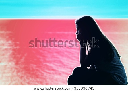 Sad lonely teenage woman over psychodelic background. Mental health conceptual image. - stock photo