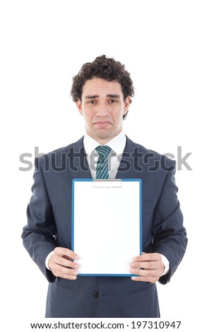 sad man holding blank white card with space for text, worried  business man holding empty signboard for copy space - stock photo