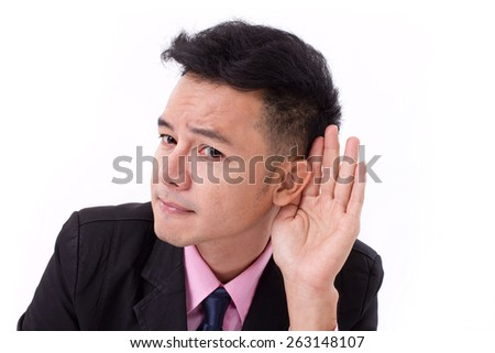 sad, negative, stressed businessman listening to bad news - stock photo