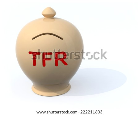 sad piggy bank with the words tfr (severance pay), 3d illustration - stock photo