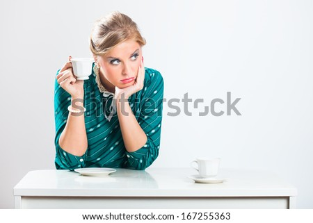Sad retro woman would like to have a company,she is so lonely,Solitude - stock photo