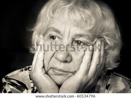 "Sad Seniora. ""Black and white portraits"" series - stock photo"