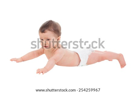 Sad six month baby in diaper lying on the floor isolated on white background - stock photo