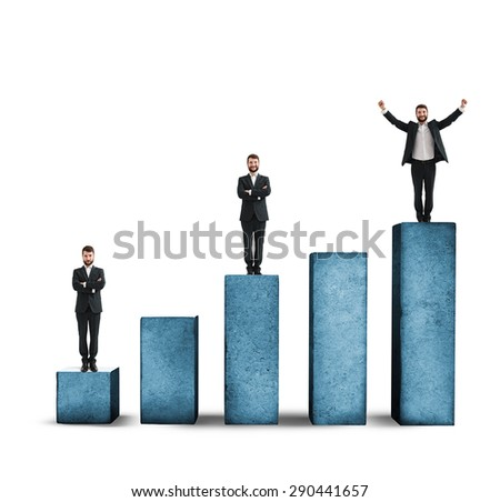 sad, smiley and happy men standing on graph made from concrete. isolated on white background - stock photo