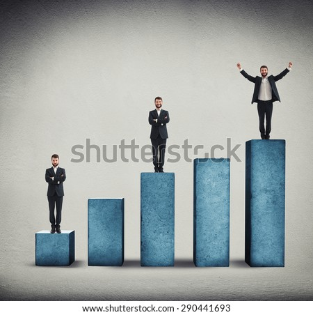 sad, smiley and happy men standing on graph made from concrete over grey background - stock photo