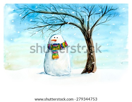 Sad snowman under a tree. Snow falls. New Year's and Christmas motive. Snow winter. Hand drawn watercolor illustration. - stock photo