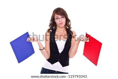 Sad student girl holding booklets - stock photo