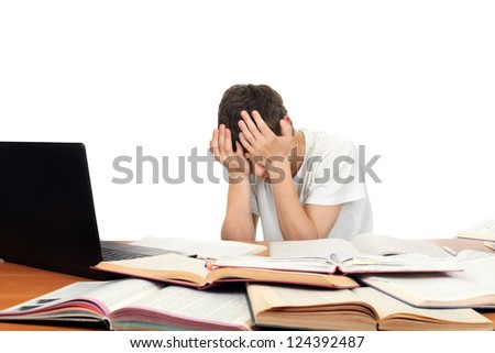 Sad Student on the School Desk hide his Face. Isolated on the White - stock photo