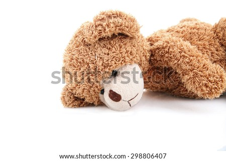 sad teddy bear - stock photo