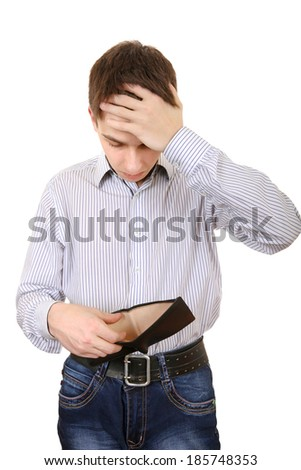 Sad Teenager with Empty Wallet Isolated on the White Background - stock photo