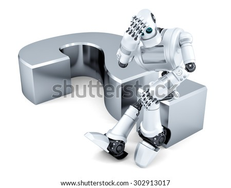 Sad thoughtful robot sitting on question mark. Isolated over white. Contains clipping path - stock photo