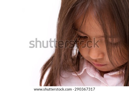 sad, tired, depressed little girl - stock photo