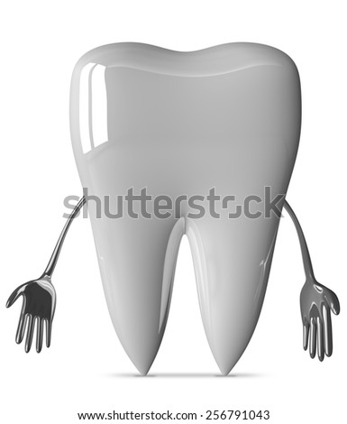 Sad white tooth character isolated on white background - stock photo