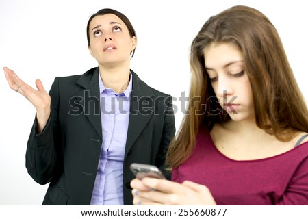 Sad woman feeling lost about technology battle - stock photo