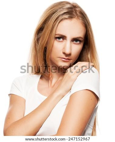 Sad woman isolated on white - stock photo